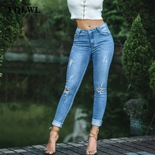 dcf2e0ee456 FQLWL High Waist Ripped Jeans For Women Denim Push Up Pearl Skinny Pencil Jeans  Woman Plus Size Winter Autumn Sexy Ladies Jeans