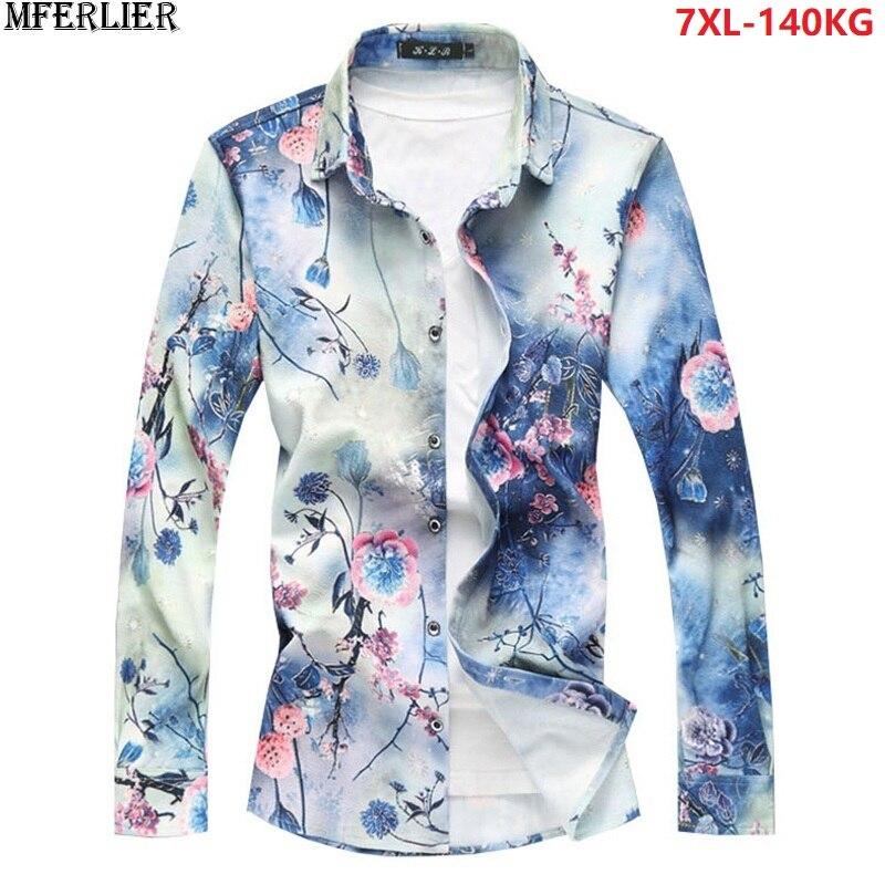 MFERLIER grande taille 5XL 6XL 7XL hommes imprimer chemise florale à manches longues printemps décontracté chemises à fleurs hommes blouse rose 52 54 56 58 60 62