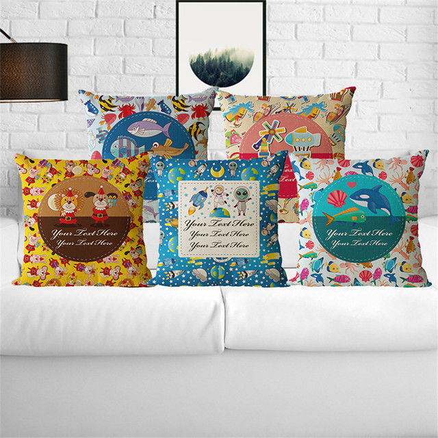 Wholesale Wedding Gift Cushion Cover Cute Large Group Children Fish Beauteous Airplane Decorative Pillow