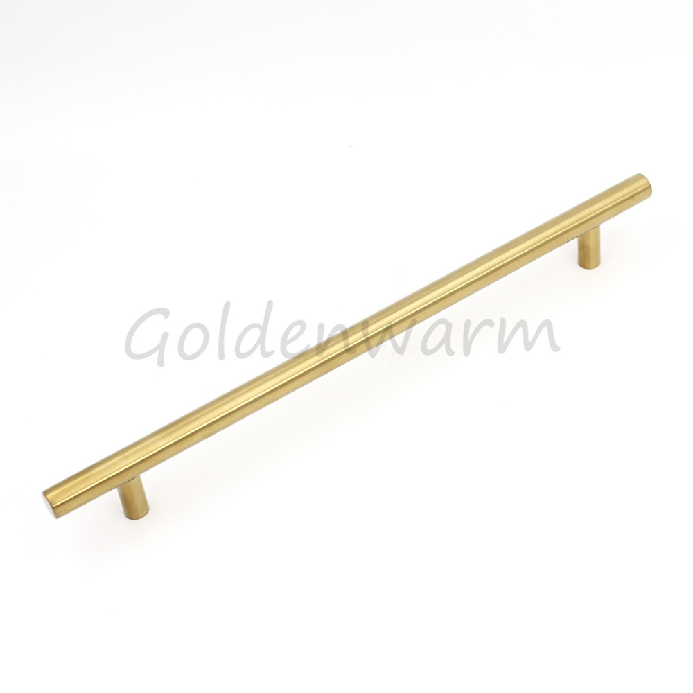 7.5 Golden Cabinet Handle T Bar Modern Stainless Steel Cupboard Handle Closet Drawer Door Knob Pull Hole Center 192mm