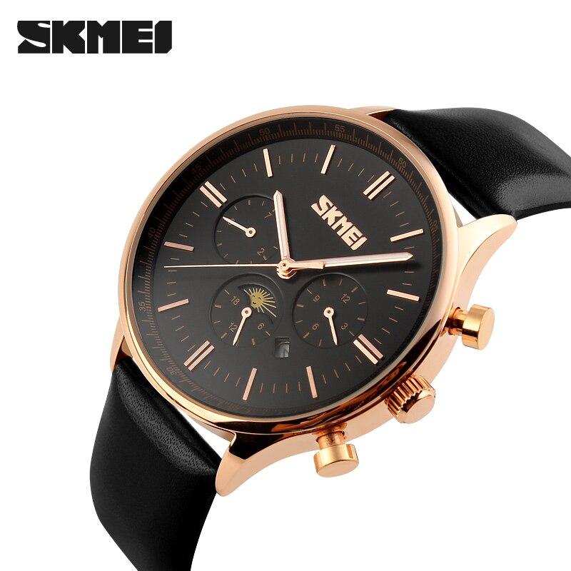 brand New Man's Quartz Watch Moon Phase fashion analog waterproof Business men Wristwatch Leather watches SKMEI 9117