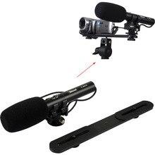 Profesional de DC/DV Micrófono Estéreo de micrófono con 3.5mm de Audio Plug + Holder Soporte de La Cámara para la Cámara RÉFLEX Digital y cámara de Vídeo