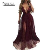 2016 Autumn Winter New Women Sequined Maxi Dress Deep V Neck Backless Dress Vintage Sexy Dress