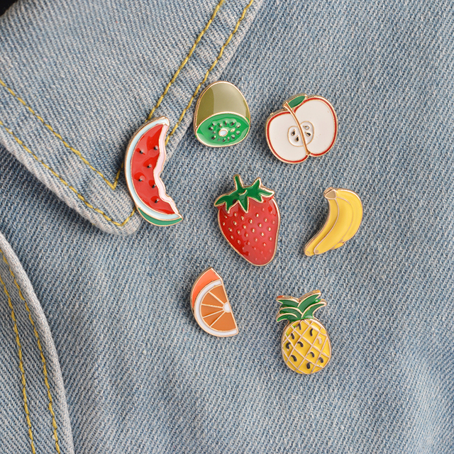 7 pcs/set Fruit Brooch Pins Banana Strawberry Watermelon Kiwi Apple Orange Pinea