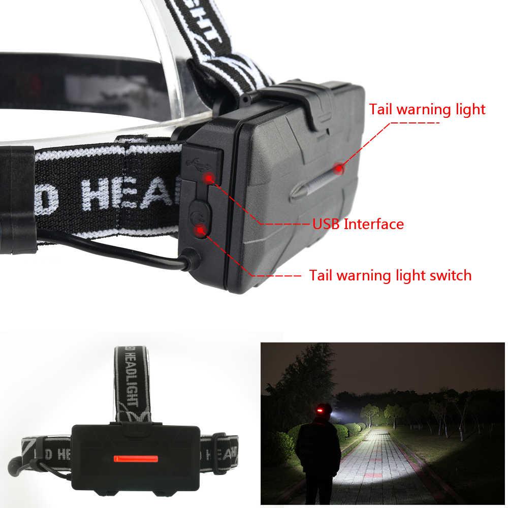 Lampe frontale Rechargeable LED 5000LM 4 * T6 + 2 * COB + 2 * rouge LED lampe torche lampe de Camping en plein air avec USB
