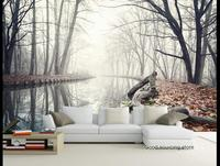 Northern Europe Winter Jungle River Wood Photo Wallpaper