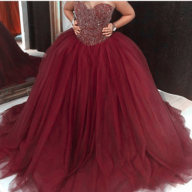 2017 Burgundy Quinceanera Dresses With Heavy Beadings
