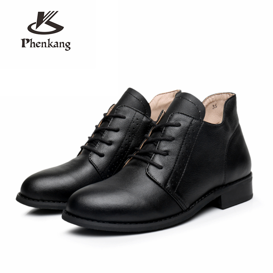 100% Genuine cow Leather women Ankle Boots shoes round toe elastic band Handmade 2018 lady winter boots with fur black red brown black leather look skater skirt with elastic band