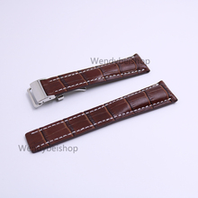 CARLYWET 22 24mm(20mm Clasp) Wholesale Brown  Men Women Real Cowhide Leather Wrist Watch Band Strap Belt Silver Clasp Buckle