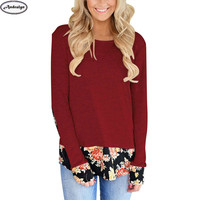 New Autumn Winter Women Fashion Floral Patchwork O-neck Long Sleeve T Shirts Casual Long Tops T-shirt