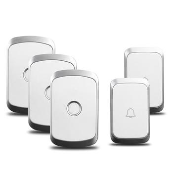 CACAZI sin hilos impermeable timbre botón 300 M remoto 2 botón 3 receptores de casa inteligente inalámbrico llamada anillo de Bell UE nos enchufe de Reino Unido