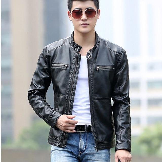 bc2d1c0ec1a 2018 Для мужчин Кожаные куртки Демисезонный имитация овчины кожаный пиджак  мужской мотоцикл кожаная куртка плюс Размеры