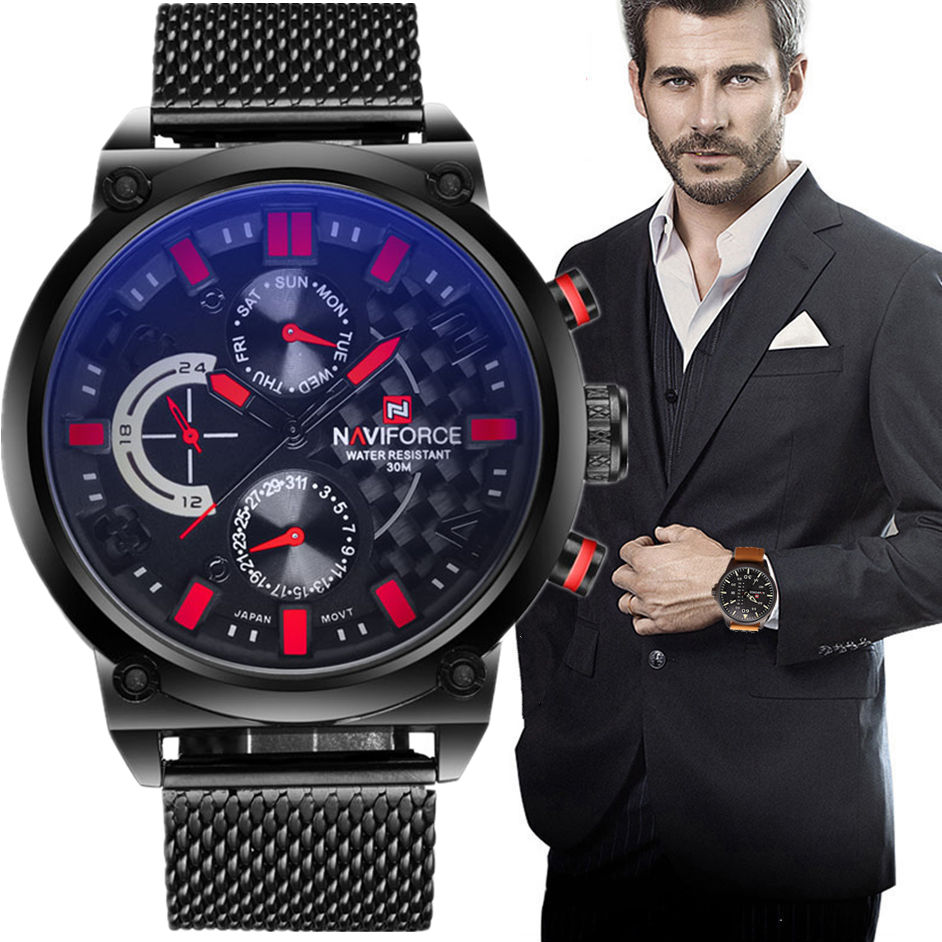 2017 Men's NAVIFORCE Luxury Brand Analog Quartz Watch Man 3ATM Waterproof Fashion Casual Sport Watches Men full steel Wristwatch