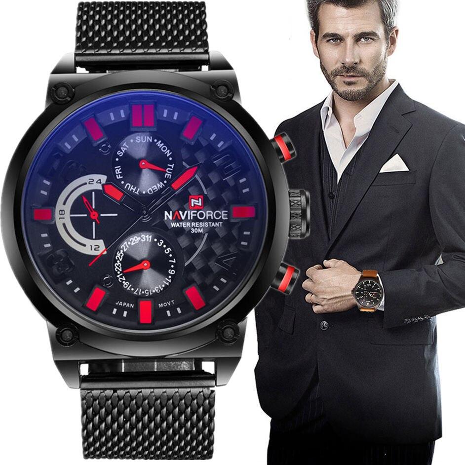2017 hombres naviforce marca de lujo analógico reloj de cuarzo hombre 3atm impermeable moda casual deporte relojes hombres acero lleno del reloj