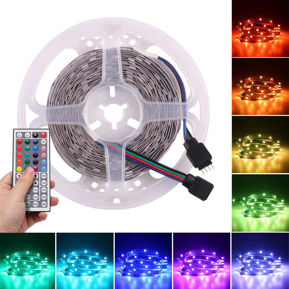 5 M/10 M 5050 RGB Multicolor LED Strip Lampu LED Pita Tidak Tahan Air LED Strip 12 V dekorasi Kamar Tidur TV LED Strip dengan Remote