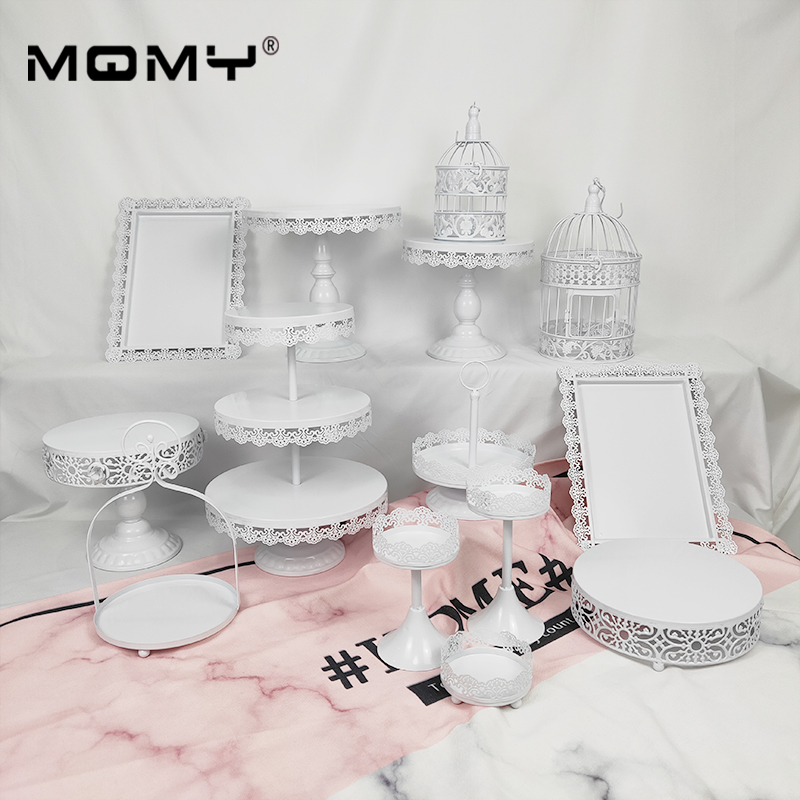 14 pièces Cupcake métal plateau plaque 3 niveaux cage à oiseaux ronde fantaisie or blanc rose ensemble cristal mariage gâteau support