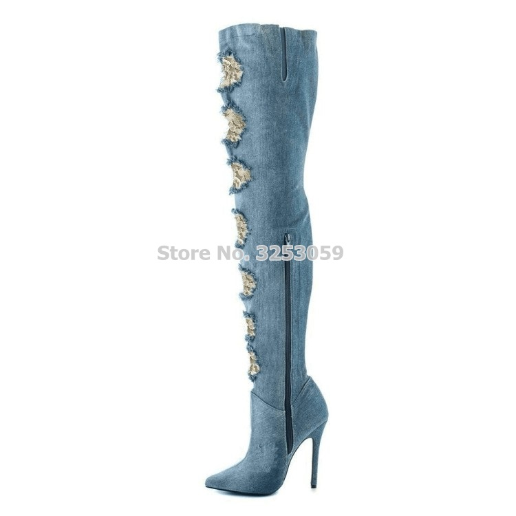 Newest Women Sexy Pointed Toe Boots Denim Blue Lace Cut-outs Over-the-knee Boots Thin Heels Jeans Boots Thign High Boots эспадрильи paez new classic raw linen essentials 0090 43