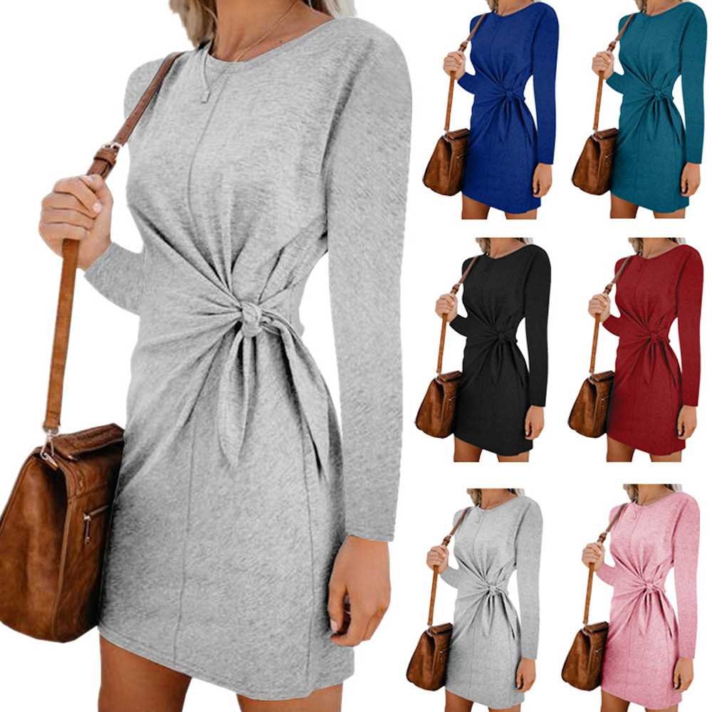 Autumn Winter Long Sleeve Dress Women 2019 Gray Fashion O Neck Tunic Slim Bodycon Solid Clothing Fall Party Knee Length Vestidos