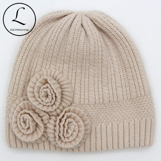 Women's Hats From The Rabbit With 3 Pieces Rose Knitted Hats Winter Beanies Cap 2016 Striped Solid Hat Gorros Gift 6828