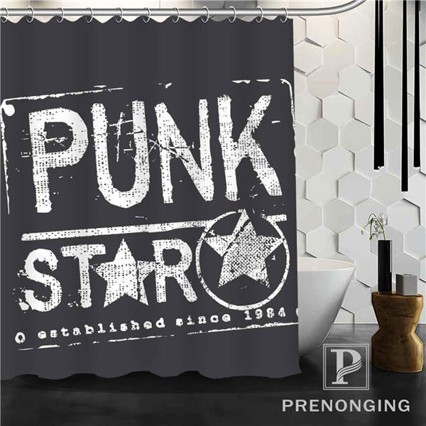 Punk Star Shower Curtain Fabric Waterproof Mildewproof Modern