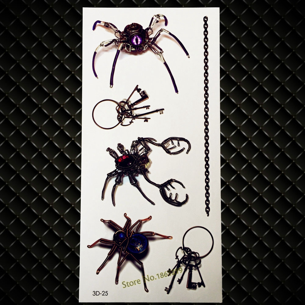 New Exclusive 3D Tattoo Metallic Robot Spider Key Design Waterproof Temporary Tattoo Sticker Men Women Arm Neck Leg Makeup G3D25