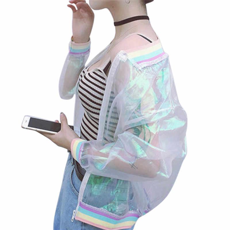 Transparent Bomber Jacke Harajuku Sommer Sunproof Frauen Mantel Schillernden Frauen Jacke Laser Regenbogen Symphonie Hologramm