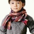 Дети пледы шарфы красно-коричневый триколор детские шарф зимний шарф для мальчиков теплый шерстяной пряжи дети пледы шарфы