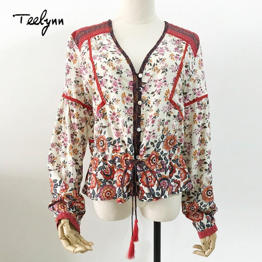 Teelynn Blusa Tops Naranja Floral Boho 2018 Blusas Imprimir Mujer Bohemia Y Larga Cintura Manga Para Rayón Camisas 51x1rawq