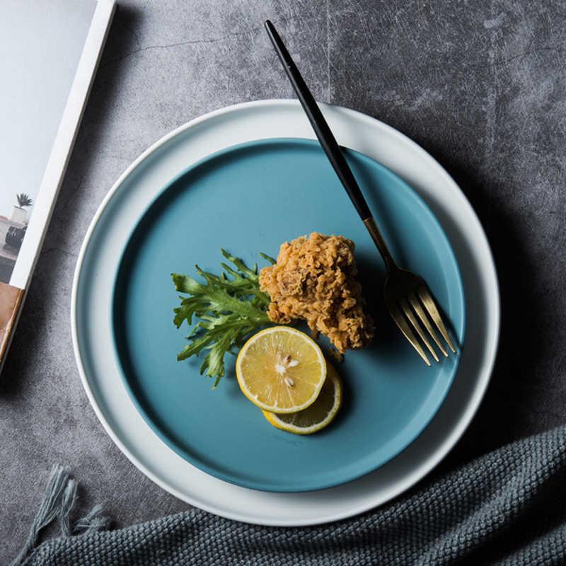 Lekoch Keramik Piring Makan Daging Sapi Piring Pecah Bulat Solid Warna Makanan Penutup Hidangan Sederhana dan Kreatif Salad Cutter Hidangan