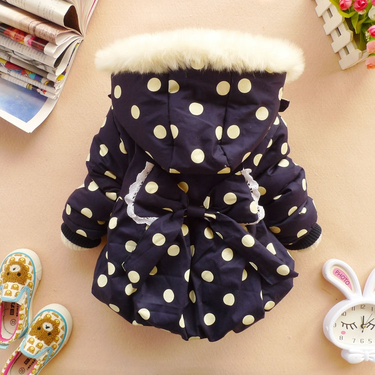 Brand new 2016 Autumn Winter children girls outerwear coat Red / Dark blue polka dot bowknot hoodies winter jackets for girls dark blue pocket roll up turndown collar winter outerwear