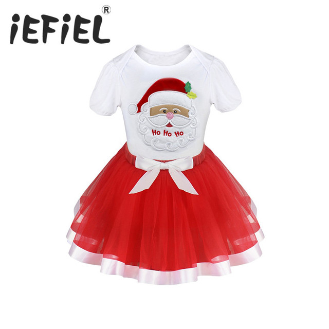 8431c0a6c0ff iEFiEL Kids Girls Christmas Santa Claus Tops with Bowknot Layers Tutu Skirt  Outfits Xmas Gift Sets for Festival Party Costumes