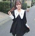 Ретро Готический Крест Вышивка Черное Платье Лолиты Harajuku Мори Девушка Марли С Длинным Рукавом