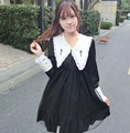 Retro Gothic Cross Embroidery Black Lolita Dress Harajuku Mori Girl Gauze Long Sleeve