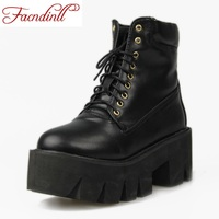 Spring Summer Shoes Lace Up Punk Boots PU Leather Women Ankle Boots Ladies Casual Martin Motorcycle