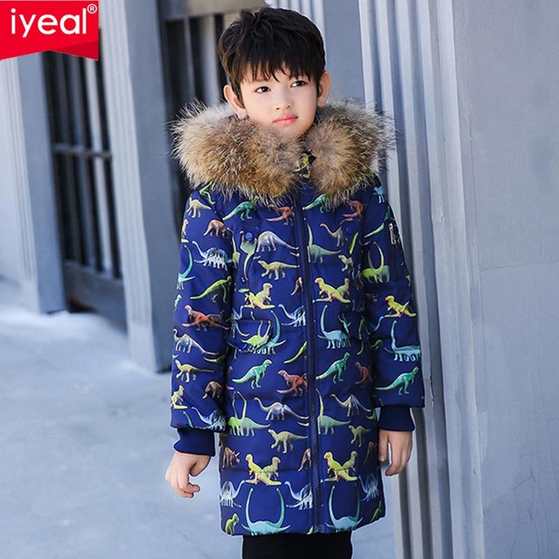 IYEAL hiver veste garçons grand réel fourrure de raton laveur à capuche blanc canard vers le bas dinosaure imprimé enfants Parkas épais enfants manteau chaud