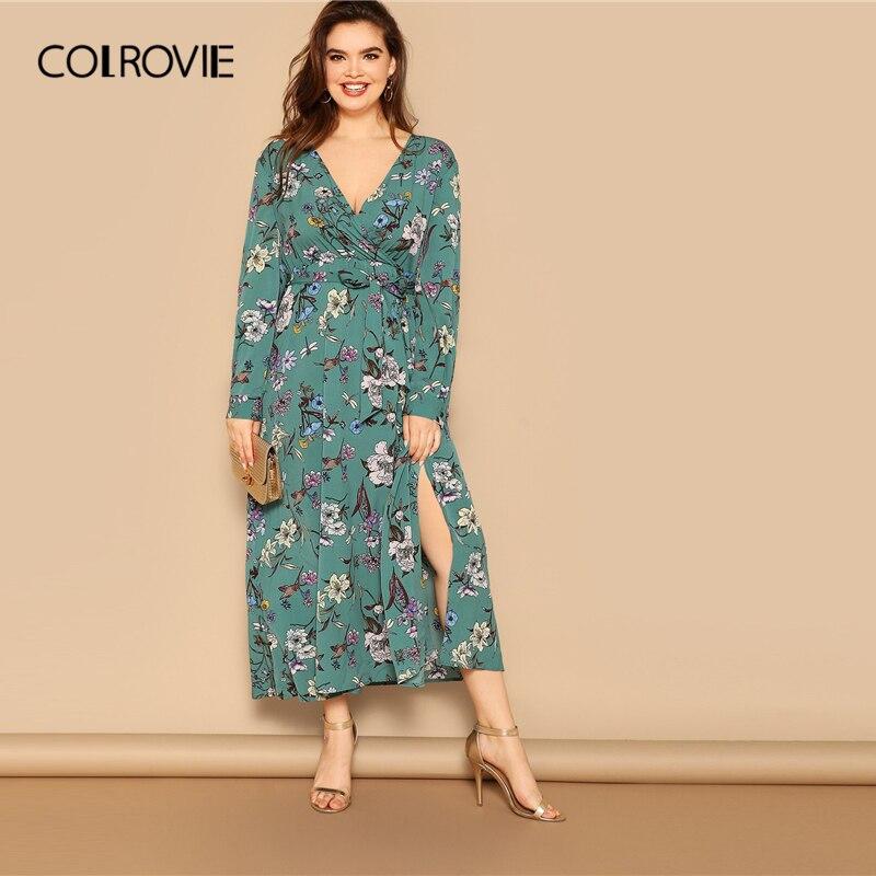 adbf7f5e406 COLROVIE плюс размер v-образный вырез на талии с поясом цветочный принт  Сплит wrap Boho Maxi платье женское 2019 с длинным рукавом с высокой талией  плать.