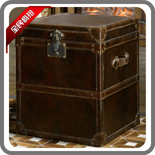 American halo box side cabinet genuine leather bag wood drawer cabinet decoration cabinet sofa side cabinet