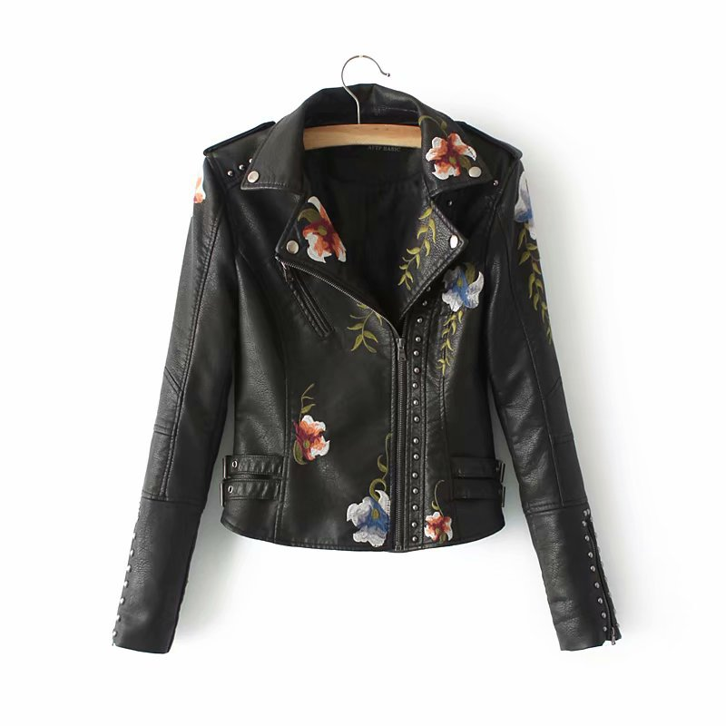 2019 Women Winter Autumn Faux Soft   Leather   Jacket Embroidery Floral Faux   Leather   Jacket Pu Motorcycle Epaulet Zipper Outerwear