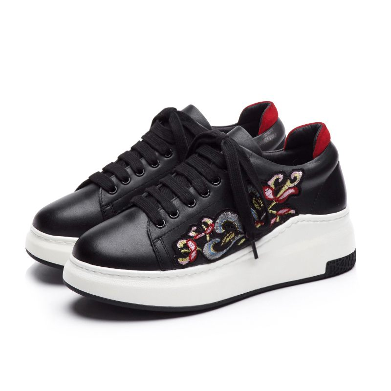 Lenkisen cow leather round toe lace up platform sneaker causal shoes thick bottom embroidery simple women vulcanized shoes L8