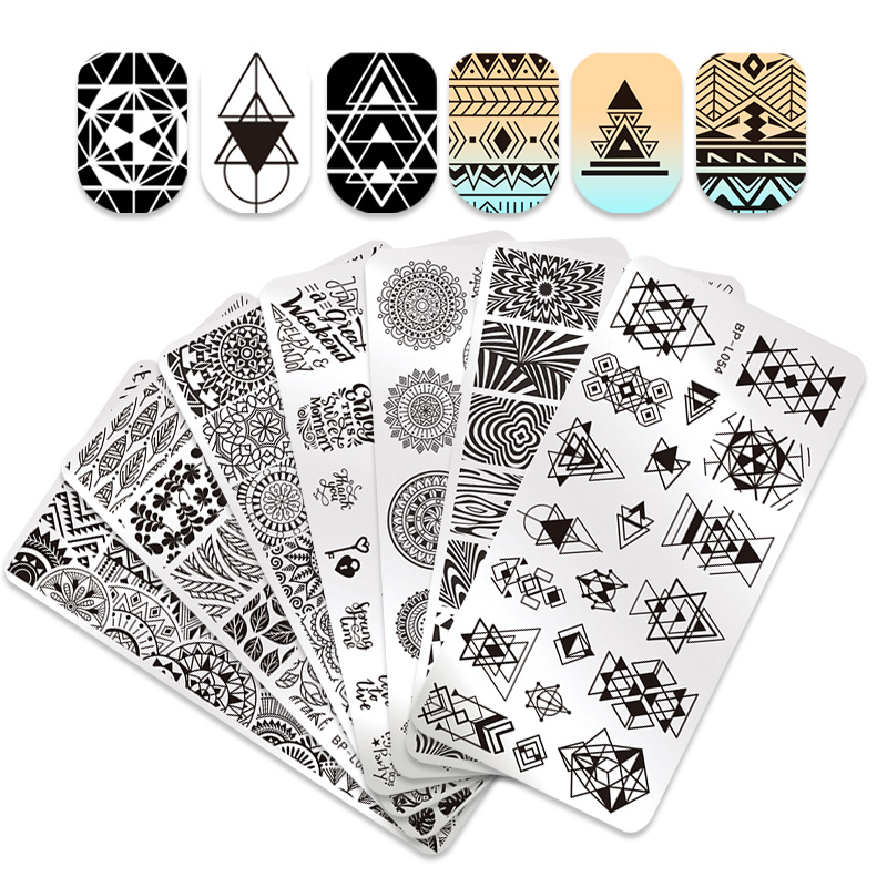 BORN PRETTY 12 6cm Rectangle Nail Stamping Plates Template Beautiful Design Manicure Nail Art Stamp Image