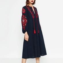 New l Ladies Spainsh Vintage Loose Linen Cotton Dresses Women's V-deep Embroidery Cotton Linen Tunic Dresses