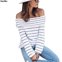 Women Sweaters And Pullovers Hot Off Shoulder Sweater Women Winter Turtleneck Sweater Striped Sweater