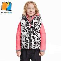 Ykyy yakuyiyi black & white mädchen winter weste reißverschluss gesteppte baby mädchen oberbekleidung & mantel sleeveless kinder tank mädchen kleidung