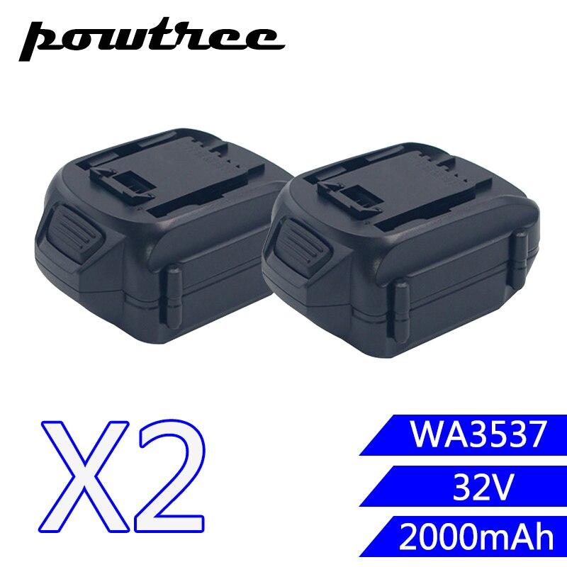 2PACKS 2000mAh 32V Li-ion WA3537 Rechargeable Batteryn For WORX WG175, WG575, WG575.1 and WG924 2packs 2000mah 12v li ion wa3503 rechargeable battery for worx wu127 wu151 wx6777 wx3827 wx125wx125 6 wx125 7 wx125 m wx126