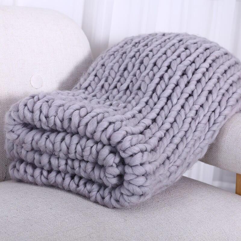 Hand Chunky Wolle Gestrickte Decke Dicke Garn Merino Wolle Sperrige Stricken Werfen Decken 200X200 cm Nordic Hause Textil dropShipping