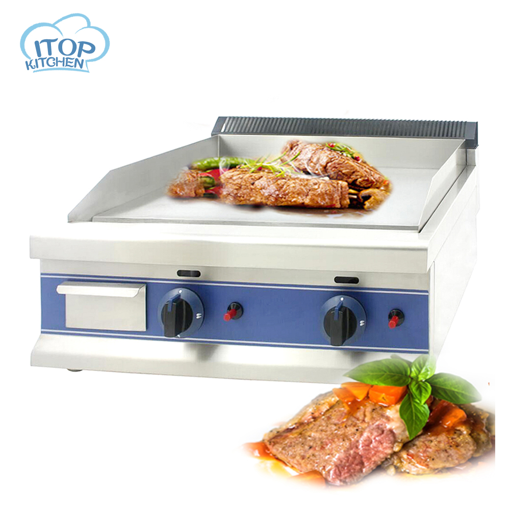 itop full stainless steel commercial table top flat griddle gas teppanyaki grill in bbq grills