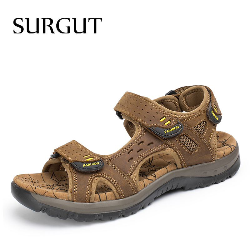 Сургут лидер продаж; Новинка Мода Лето Досуг Пляж Мужская обувь высокое качество кожаные сандалии в большие размеры Мужские сандалии размеры 38–45