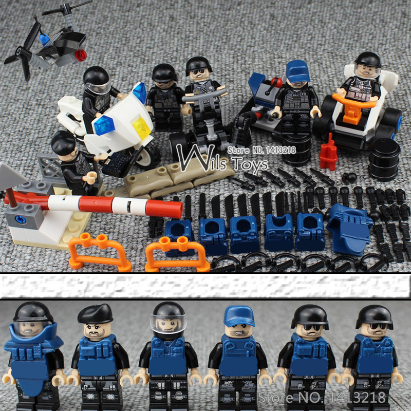 6pcs Riot Police MILITARY Army SWAT Soldiers Marine Corps Special Forces City Mini Building Blocks Bricks Figures Gift Toys Boys phalanx original blocks educational toys swat police military weapons gun model city accessories lepin mini figures