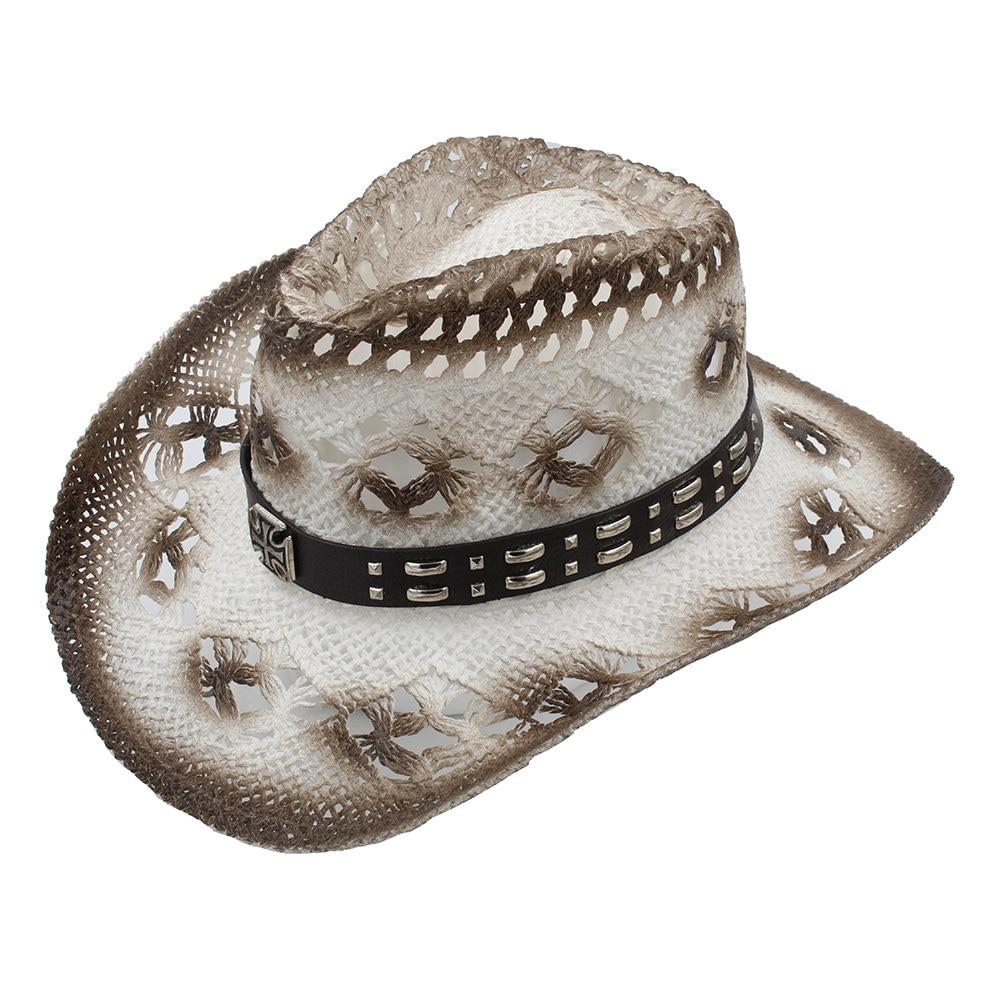 100% Handmade Weave Women Men Western Cowboy Hat Leather Band Lady Gentleman Beach Boater Sombrero Cowgirl Hat Size 58CM