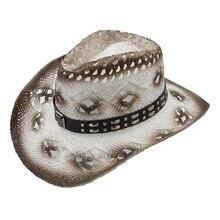 ae10dcef 100% hecho a mano de la armadura mujeres hombres Sombrero de vaquero  occidental señora banda de cuero Caballero playa Boater Som.